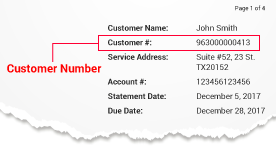 Sample image of a bill showing the customer number